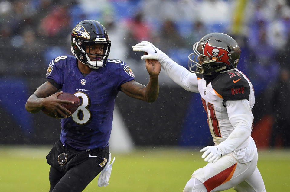The Ravens' Lamar Jackson has rushed for 605 yards on 127 carries this season. (AP)