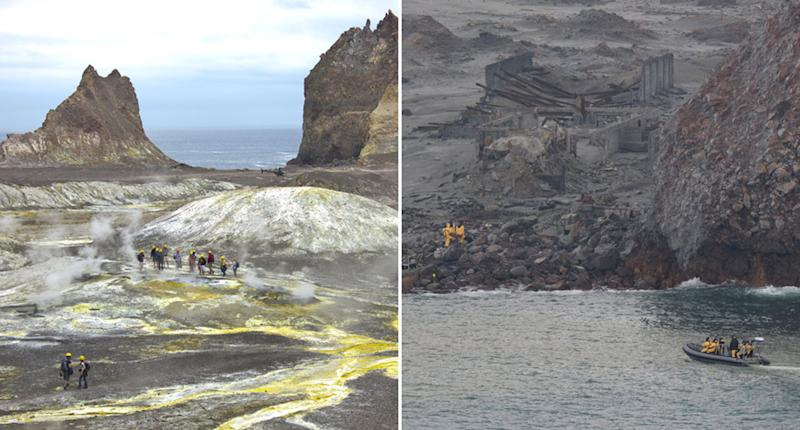 Before and after photos of a colourful White Island (left) and a charred island (right).