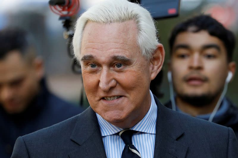FILE PHOTO: Roger Stone, former campaign adviser to U.S. President Donald Trump, arrives at U.S. District Court in Washington
