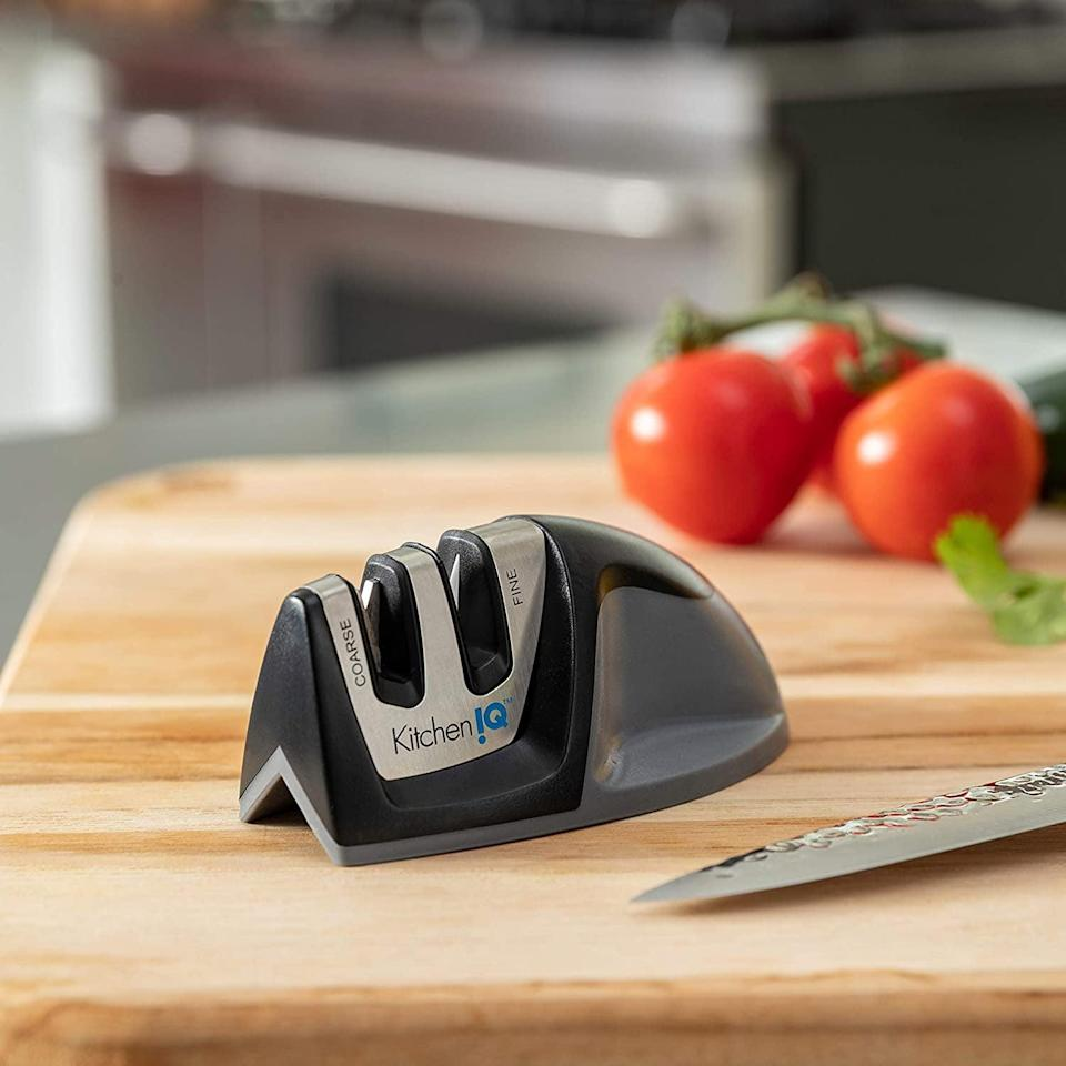<p>Make sure your knives are in pristine condition with the <span>KitchenIQ Edge Grip 2 Stage Knife Sharpener, Black</span> ($9).</p>