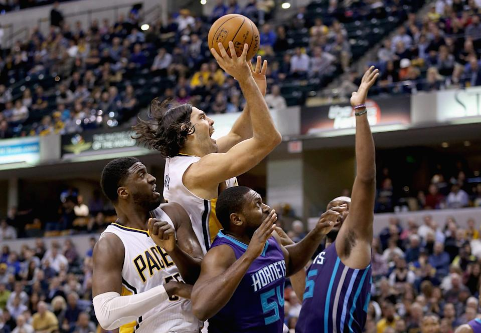 INDIANAPOLIS, IN - NOVEMBER 19: Luis Scola #4 of the Indiana Pacers shoots the ball in the fourth quarter during the game against the Charlotte Hornets at Bankers Life Fieldhouse on November 19, 2014 in Indianapolis, Indiana.The Pacers won 88-86. (Photo by Andy Lyons/Getty Images)