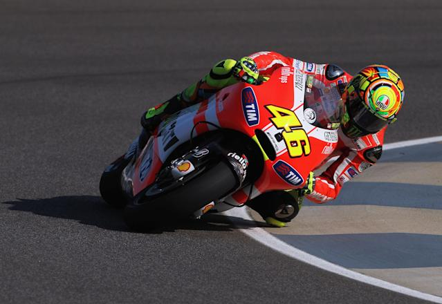 INDIANAPOLIS, IN - AUGUST 27: Valentino Rossi #46 of Italy in action during Moto GP practice at Indianapolis Motorspeedway on August 27, 2011 in Indianapolis, Indiana. (Photo by Jamie Squire/Getty Images)