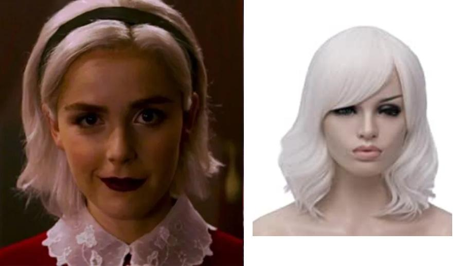 "Sabrina, Beron 14"" Women Short Wavy Wig with Side. Images via Netflix, Amazon"