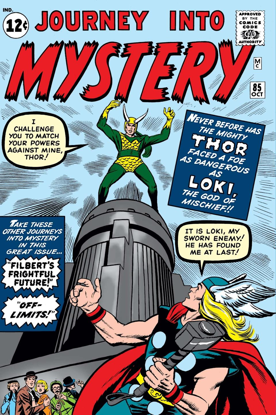 Cover of the Marvel comic Journey into Mystery, where Loki stands on a building with a horned helmet and a suit with scales on it