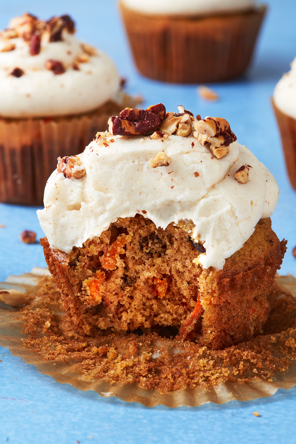 """<p>This way, you get even more frosting with each bite. 😉</p><p>Get the recipe from <a href=""""https://www.delish.com/cooking/recipe-ideas/recipes/a43390/carrot-cake-cupcakes-recipe/"""" rel=""""nofollow noopener"""" target=""""_blank"""" data-ylk=""""slk:Delish"""" class=""""link rapid-noclick-resp"""">Delish</a>.</p>"""