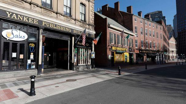 PHOTO: A block of closed restaurants on a deserted street, April 4, 2020, in Boston.The area is usually busy with tourists, but tourism is nearly non-existent during the coronavirus outbreak (Michael Dwyer/AP)