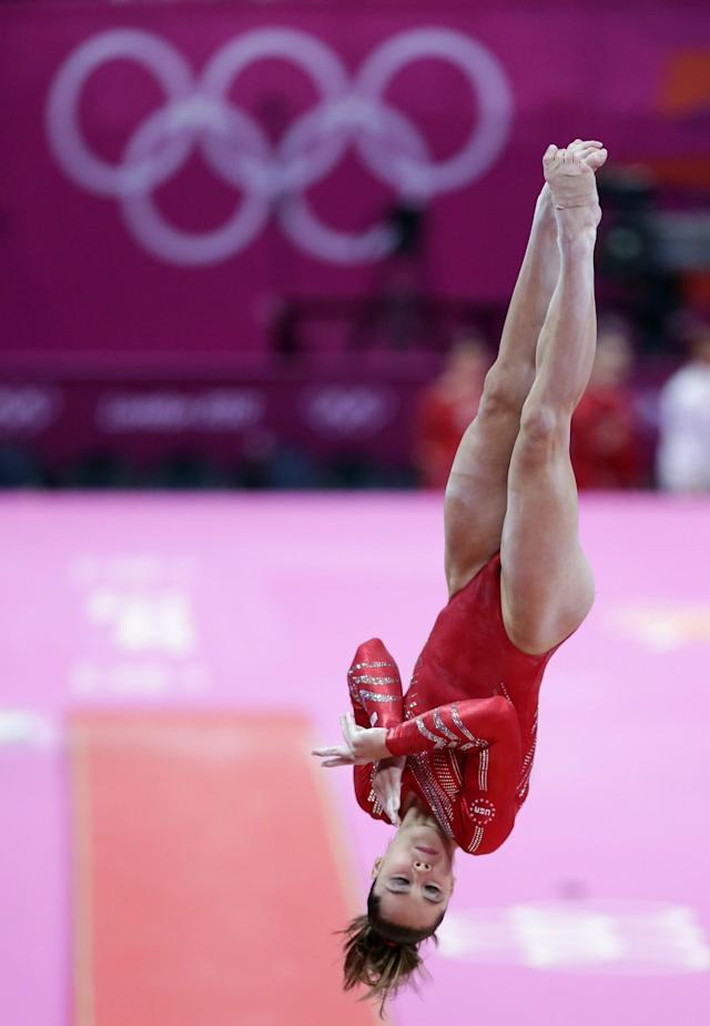 <p>U.S. gymnast McKayla Maroney performs on the vault during the Artistic Gymnastic women's team final at the 2012 Summer Olympics, Tuesday, July 31, 2012, in London. (AP Photo/Gregory Bull) </p>