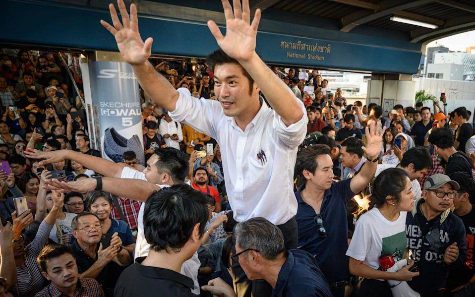 Thanathorn Juangroongruangkit at a flash mob protest in Bangkok in December  - Mladen Antonov/AFP
