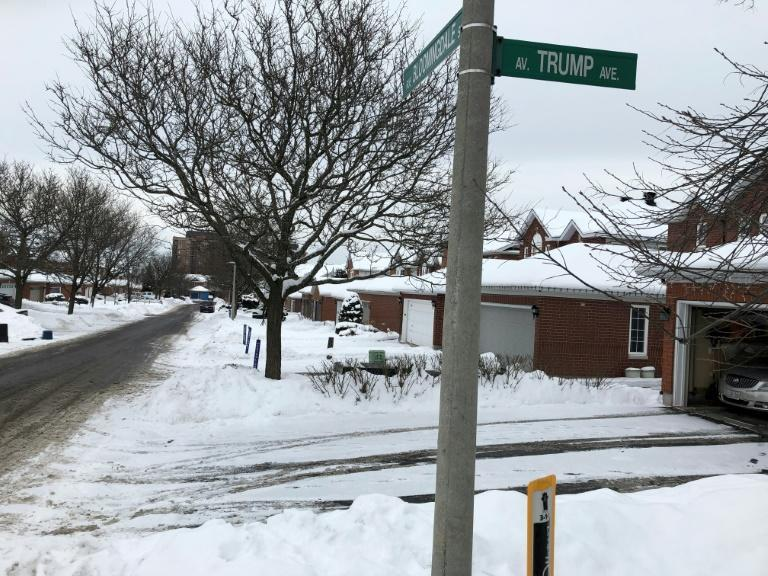 The 'Trump Avenue' sign is seen in a west side neighborhood in Ottawa on January 26, 2021