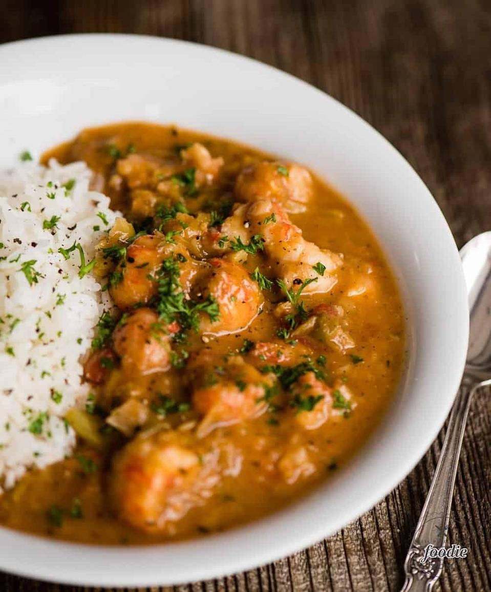"<p>Nothing says Southern comfort food quite like crawfish étouffée. With tender seafood smothered in a spicy Cajun tomato-based sauce, seconds (and thirds) are encouraged.</p> <p><strong>Get the recipe</strong>: <a href=""https://selfproclaimedfoodie.com/crawfish-etouffee/"" class=""link rapid-noclick-resp"" rel=""nofollow noopener"" target=""_blank"" data-ylk=""slk:crawfish étouffée"">crawfish étouffée</a></p>"