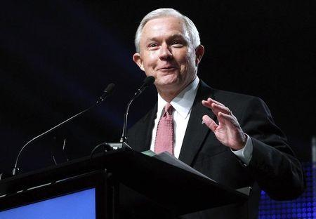 United States Senator Jeff Sessions speaks during a news conference in Mobile