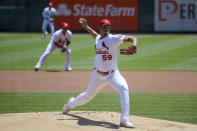 St. Louis Cardinals starting pitcher Johan Oviedo (59) throws during the first inning of a baseball game against the Miami Marlins Wednesday, June 16, 2021, in St. Louis. (AP Photo/Scott Kane)