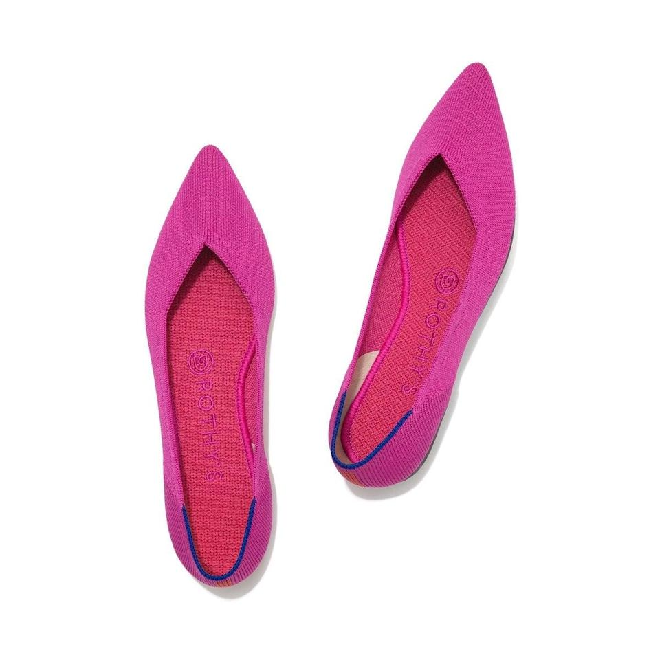 """<h2>Rothy's</h2><br>Known for its durable, washable flats (and now its <a href=""""https://www.refinery29.com/en-us/2020/03/9499374/rothys-bag-launch-2020"""" rel=""""nofollow noopener"""" target=""""_blank"""" data-ylk=""""slk:bags, too"""" class=""""link rapid-noclick-resp"""">bags, too</a>!), Rothy's quickly made its mark on the sustainable scene by transforming discarded plastic into stylish, wear-everywhere accessories that shoppers are obsessed with. The company is continually striving for zero waste through the use of 3D knitting technology and handcrafted comfort, and they've just introduced the brand's first-ever warm-weather styles just in time for Earth Day. <br><br><em>Shop <strong><a href=""""https://rothys.com/https://rothys.com/"""" rel=""""nofollow noopener"""" target=""""_blank"""" data-ylk=""""slk:Rothy's"""" class=""""link rapid-noclick-resp"""">Rothy's</a></strong></em><br><br><strong>Rothy's</strong> The Point Woven Flat, $, available at <a href=""""https://go.skimresources.com/?id=30283X879131&url=https%3A%2F%2Frothys.com%2Fproducts%2Fthe-point-berry"""" rel=""""nofollow noopener"""" target=""""_blank"""" data-ylk=""""slk:Rothy's"""" class=""""link rapid-noclick-resp"""">Rothy's</a>"""