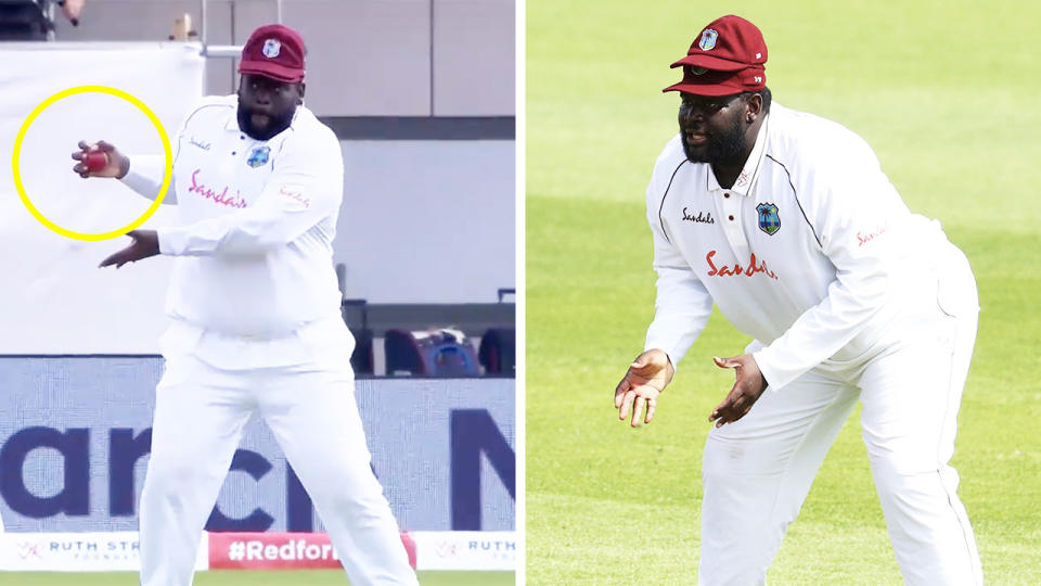 Rahkeem Cornwall taking a sensational catch at slip (pictured left) and getting ready to take a catch (pictured right).