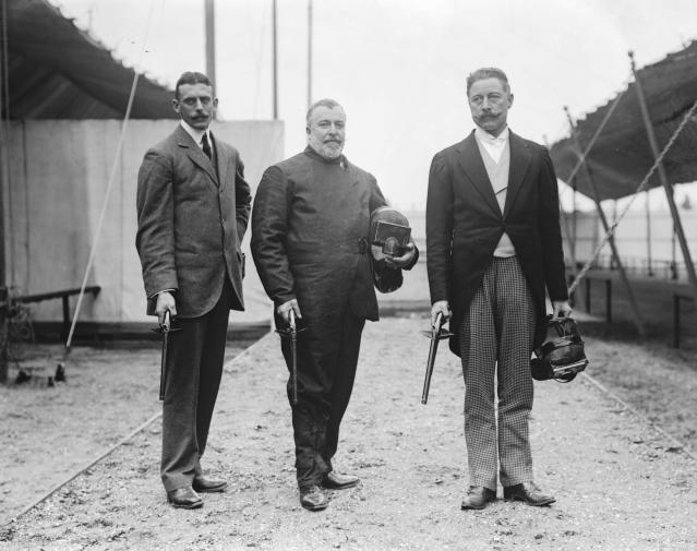 Appearing as a demonstration sport at the 1908 Games, dueling poised two pistol wielding competitors against each other. They fired wax bullets and wore protective gear on the head, hands and torso.