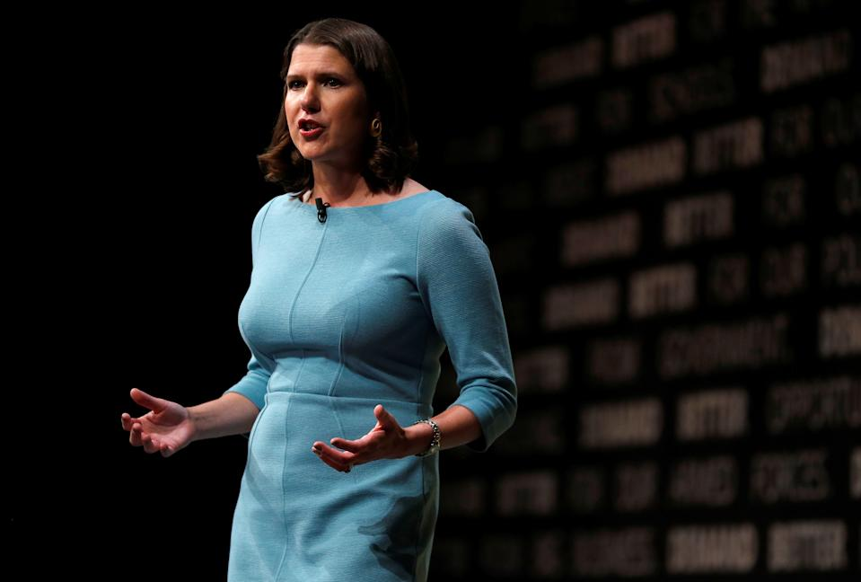 Leader of Britain's Liberal Democrats Jo Swinson delivers her speech at the yearly party conference in Bournemouth, Britain September 17, 2019.   REUTERS/Peter Nicholls