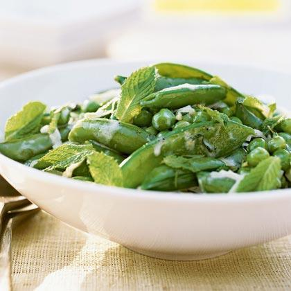 """<p>This pretty side dish makes a nice accompaniment to salmon or a simple roast <a href=""""https://www.myrecipes.com/chicken-recipes"""" rel=""""nofollow noopener"""" target=""""_blank"""" data-ylk=""""slk:chicken"""" class=""""link rapid-noclick-resp"""">chicken</a>. Using all three types of peas makes it special, but it's also delicious with any single type or two combined.</p>"""