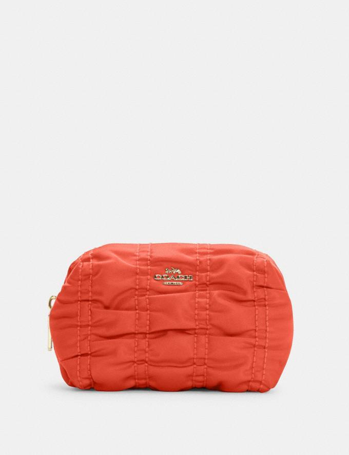 Small Boxy Cosmetic Case With Ruching - Coach Outlet
