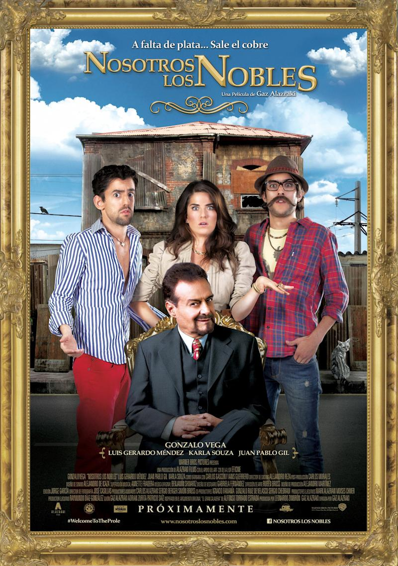 """This undated promotional image released by Warner Bros. Studios shows actors, from left, Luis Gerardo Mendez, Karla Souza, Juan Pablo Gil and Gonzalo Vega in the movie """"Nosotros los Nobles,"""" or """"We are the Nobles.""""  The Mexican riches-to-rags movie has opened to packed theaters in a country with one of the world's widest income gaps, and a love for laughing at misfortune. (AP Photo/Warner Bros. Studios)"""