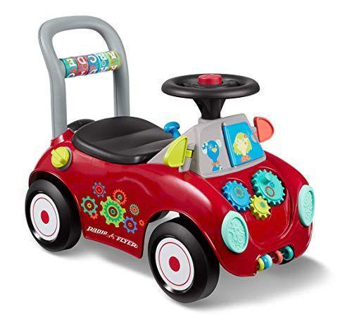 """<p><strong>Radio Flyer</strong></p><p>amazon.com</p><p><strong>$34.97</strong></p><p><a href=""""https://www.amazon.com/dp/B07CN9T8RC?tag=syn-yahoo-20&ascsubtag=%5Bartid%7C10055.g.203%5Bsrc%7Cyahoo-us"""" rel=""""nofollow noopener"""" target=""""_blank"""" data-ylk=""""slk:Shop Now"""" class=""""link rapid-noclick-resp"""">Shop Now</a></p><p>This buggy converts from a ride-on toy to a push toy as kids improve their gross motor coordination. There are plenty of other features that'll keep them entertained, too, like gears to spin, wheels to turn, a horn to beep and more. You'll love that it also has some storage under the seat. <em>Ages 1+</em></p>"""