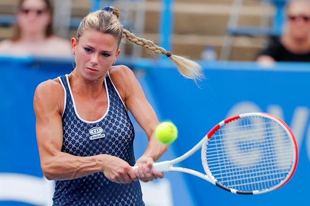 Camila Giorgi of Italy in action against Catherine McNally of the US during a semifinal round match in the Citi Open tennis tournament at the Rock Creek Park Tennis Center in Washington, DC, USA, 03 August 2019. EFE/EPA/ERIK S. LESSER