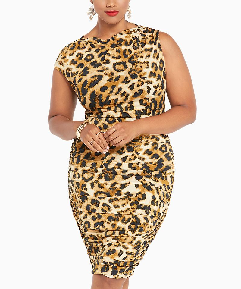 "<p>The sex kitten within is just waiting to take a walk on the wild side! The essentials? A sleek animal-print dress and kitten ears. For a cute touch, use a dark eyebrow pencil to draw a triangle on the tip of your nose then add whiskers.</p> <p>$69 | <a rel=""nofollow"" href='http://www.torrid.com/product/fox-empire-collection-leopard-print-asymmetrical-dress/10694618.html?cgid=popculture-viewall#sz=120&start=129'>torrid.com</a></p>"