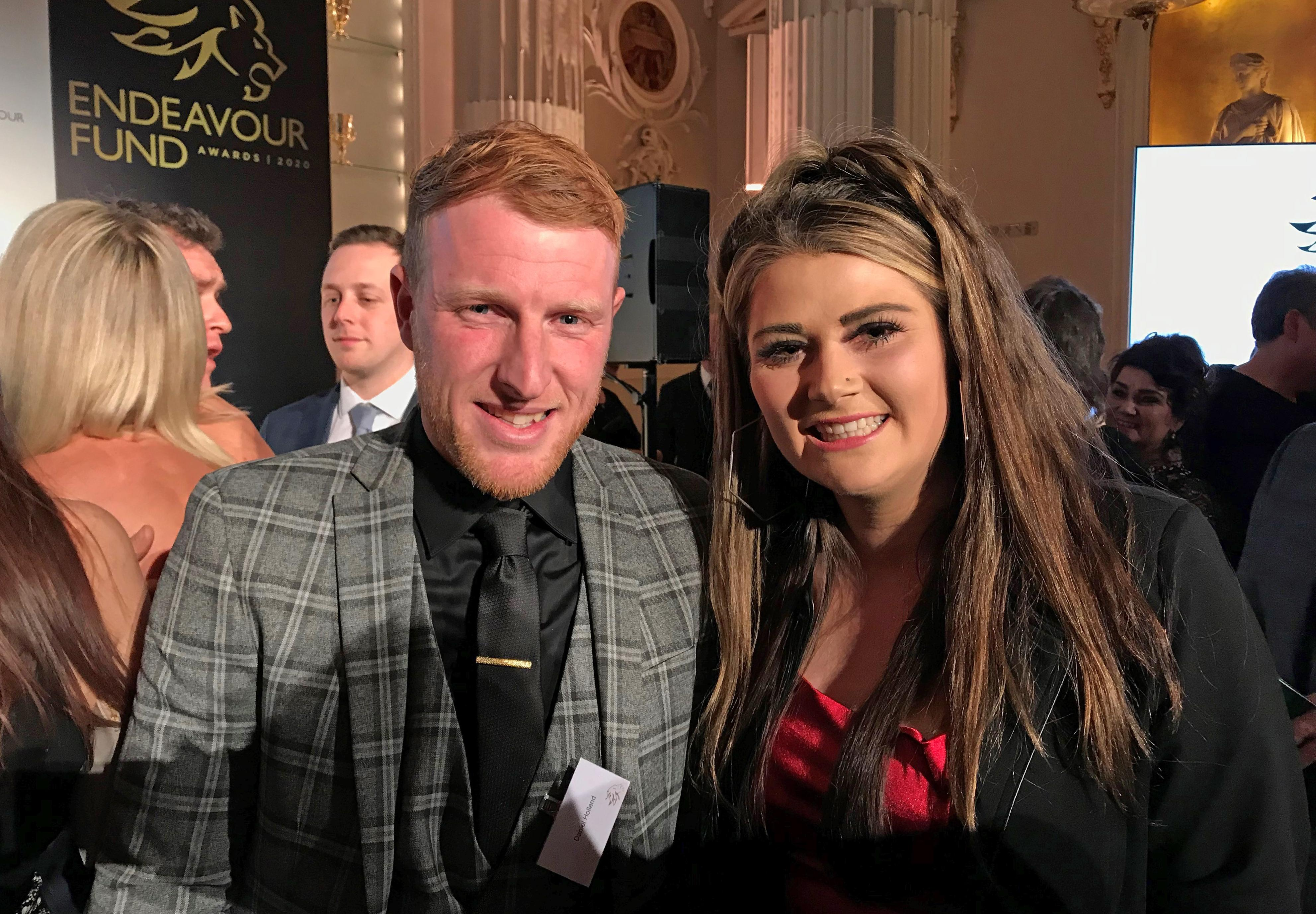 Danny Holland with his fiance Lauren Price. who he proposed to in front of the Duke and Duchess of Sussex at the Endeavour Fund Awards at Mansion House in London.