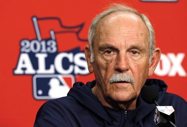 Detroit Tigers manager Jim Leyland speaks during a media availability at Comerica Park before practice for Game 3 of the American League baseball championship series against the Boston Red Sox in Detroit, Monday, Oct. 14, 2013. (AP Photo/Paul Sancya)