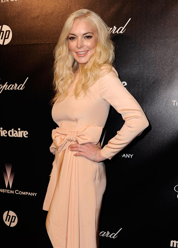 Lindsay Lohan arrives at The Weinstein Company's 2012 Golden Globe Awards After Party held at The Beverly Hilton hotel on January 15, 2012 in Beverly Hills, California.