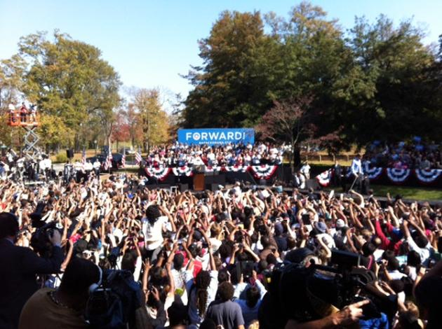 Obama in Richmond now. Loudest crowd I've heard yet on this trip. Deafening - @Chris_Moody, via Twitter