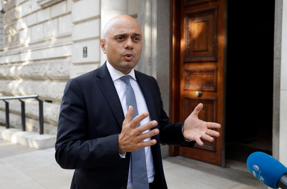 Britain's chancellor of the exchequer Sajid Javid speaks to the media on his arrival at the Treasury in London on 24 July. Photo: Matt Dunham/AFP