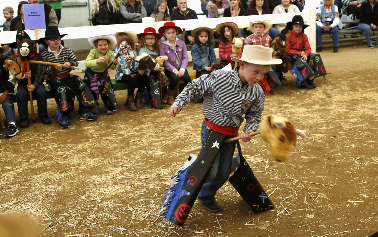 A boy competes in the stick horse rodeo bull riding competition at the 108th National Western Stock Show in Denver January 11, 2014. The show, which features more than 15,000 head of livestock, opened on Saturday and runs through January 26. REUTERS/Rick Wilking (UNITED STATES - Tags: ANIMALS SOCIETY TPX IMAGES OF THE DAY)