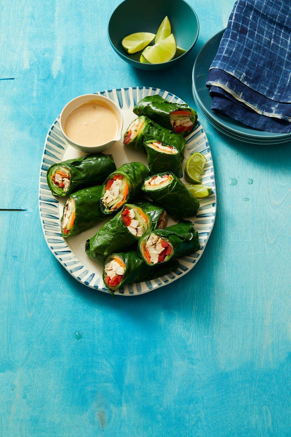 """<p>If you're looking to switch up your regular lettuce wraps, try using Swiss chard instead. </p><p><strong><em><a href=""""https://www.womansday.com/food-recipes/a32293196/thai-style-peanut-chicken-wraps-recipe/"""" rel=""""nofollow noopener"""" target=""""_blank"""" data-ylk=""""slk:Get the recipe for Thai-Style Peanut Chicken Wraps."""" class=""""link rapid-noclick-resp"""">Get the recipe for Thai-Style Peanut Chicken Wraps.</a></em></strong></p>"""