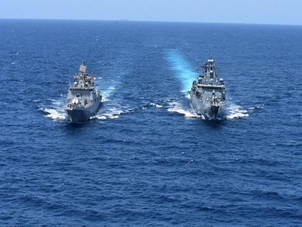 INS Trikand undertakes maritime partnership exercise with German frigate Bayern in Gulf of Aden