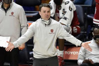 Indiana head coach Archie Miller reacts to a call from the side line against Illinois in the first half of an NCAA college basketball game Saturday, Dec. 26, 2020, in Champaign, Ill. (AP Photo/Holly Hart)