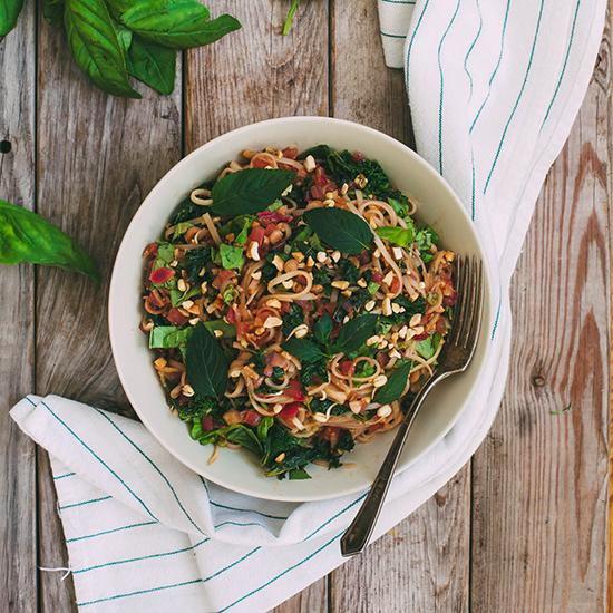 <p>All of the beloved flavors and textures of pad thai are preserved in this dish, but as a bonus it's packed with greens and fresh herbs. Soft rice noodles are combined with crunchy fresh daikon strips for an interesting twist.</p>
