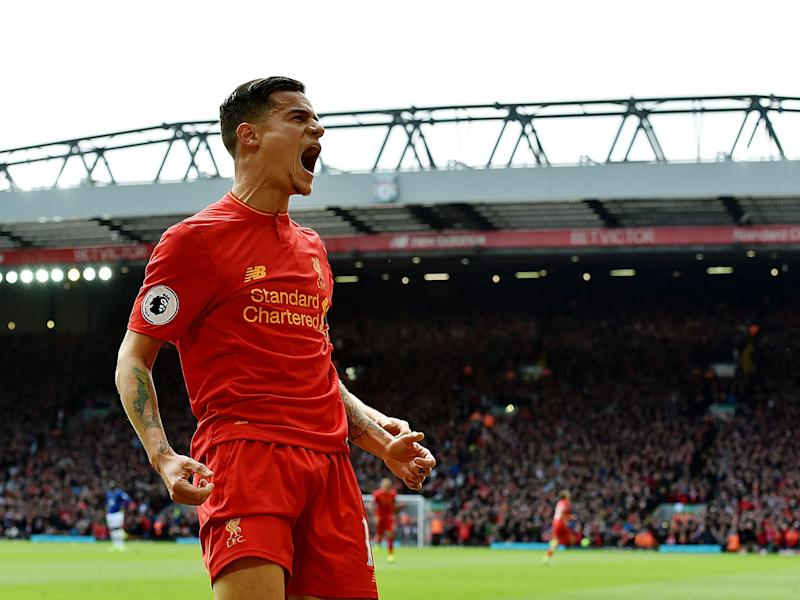 Coutinho celebrates putting Liverpool back in front after scoring his side's second: Getty