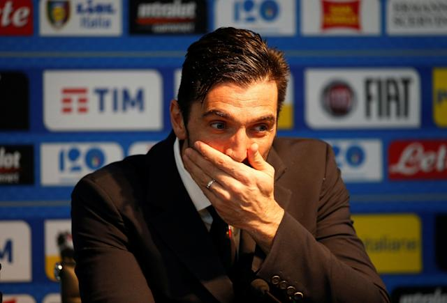 Soccer Football - Italy Press Conference - Etihad Stadium, Manchester, Britain - March 22, 2018 Italy's Gianluigi Buffon during the press conference Action Images via Reuters/Craig Brough