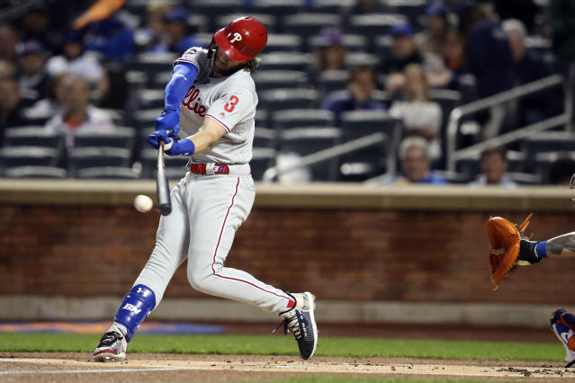 Philadelphia Phillies' Bryce Harper bats during the first inning of a baseball game against the New York Mets, Friday, Sept. 6, 2019, in New York. (AP Photo/Mary Altaffer)