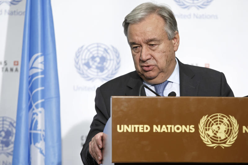 UN Secretary-General Antonio Guterres informs the media that the conference on Cyprus under the auspices of the United Nations is closed without any agreement, in Crans-Montana, Switzerland, Friday, July 7, 2017. (Salvatore Di Nolfi/Keystone via AP)
