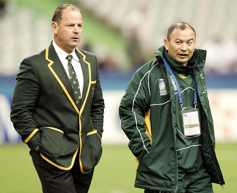 ST DENIS, FRANCE - OCTOBER 20: Jake White and Eddie Jones of South Africa walk around the pitch ahead of the IRB 2007 Rugby World Cup final match between South Africa and England held at the Stade de France October 20, 2007 in St Denis, France. (Photo by Tertius Pickard/ Gallo Images/Getty Images)