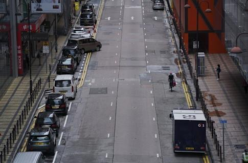 Canton Road in Tsim Sha Tsui devoid of shoppers and traffic on August 2, 2020, the first Sunday after the government limited public gatherings to two people. Photo: Felix Wong