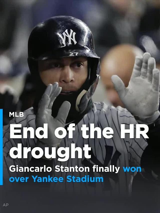 New York Yankees slugger Giancarlo Stanton ended a 16-day home run drought by going deep in their 8-5 loss against the Toronto Blue Jays.
