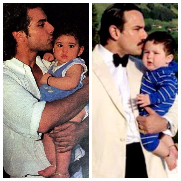 <p>Taimur has managed to win hearts nationwide and his pictures instantly go VIRAL. One such picture of the chota nawab was from his trip to Gstaad with his parents.  </p><p>In the photo, Saif, who is dressed in formals is seen planting a kiss on baby Taimur's head who is decked in a dark blue onesie. <br /></p>