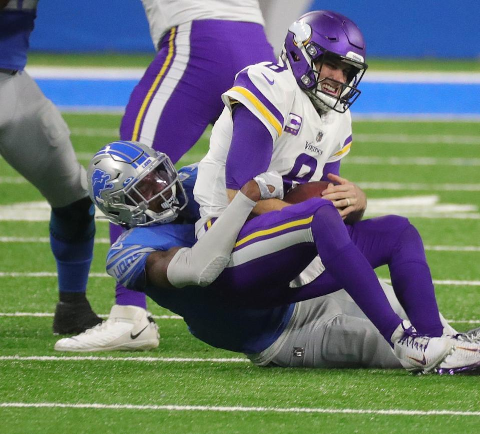 Detroit Lions safety Tracy Walker sacks Minnesota Vikings quarterback Kirk Cousins during the first half at Ford Field, Sunday, Jan. 3, 2021.