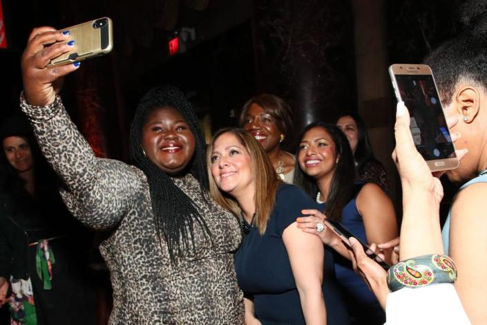 """<div class=""""inline-image__caption""""> <p>Gabourey Sidibe taking photos with her pals at a luncheon on May 15, 2019, in New York City. </p> </div> <div class=""""inline-image__credit""""> Astrid Stawiarz/Getty </div>"""