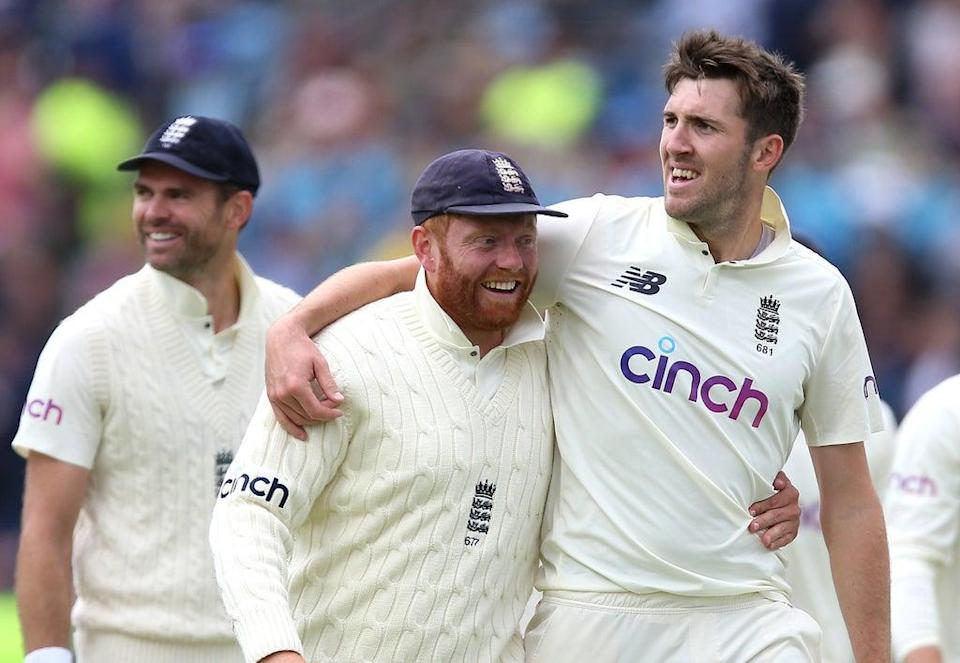 England's Jonny Bairstow (centre) celebrates his spectacular slip catch to remove India's KL Rahul off Craig Overton's bowling. (PA Wire)