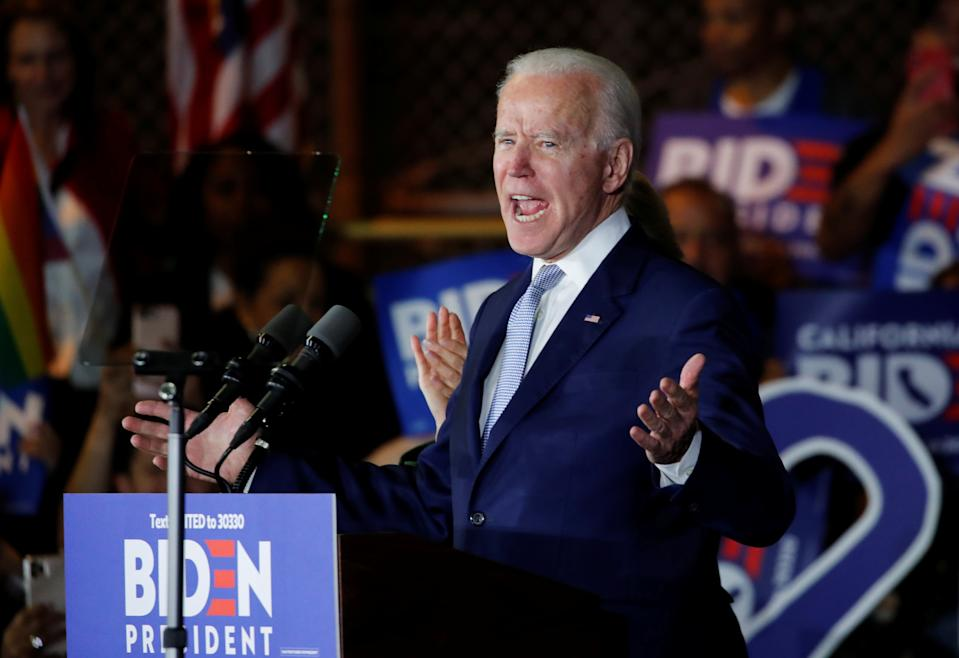 Democratic U.S. presidential candidate and former Vice President Joe Biden speaks at his Super Tuesday night rally in Los Angeles, California, U.S., March 3, 2020. REUTERS/Mike Blake     TPX IMAGES OF THE DAY