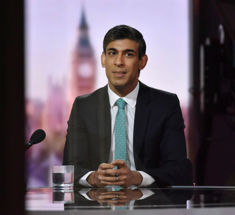 Britain's Chancellor of the Exchequer Rishi Sunak reacts on BBC TV's The Andrew Marr Show