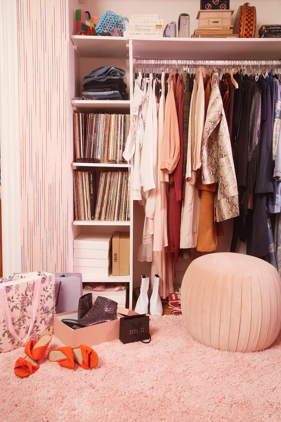 <p>I'm a big believer in regular purges with your wardrobe (and everything else in your home), so I try to do so at least twice a season, if not more. The easiest way to make a task like this seem less daunting is to break it down by section. For me, this started with the hanging items in my closet. I tried on all the styles I no longer gravitated toward yet continued to keep with every purge. Those pieces were out of there! Then, I moved on to my folded items, then onto bags, shoes, and jewelry. I even revisited my socks, underwear, and workout clothes - I don't know about you, but I always hold on to more than is necessary for these categories and for too long. I made sure to say goodbye to clothing that no longer fit or that never fit in the first place, like pieces I'd bought intending to get tailored. I've learned that if I buy something that requires tailoring and don't take care of it from the get-go, I never will. When I come across those items during a purge, it's a clear sign to move on.</p>